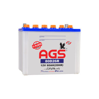 AGS 80D26R 11 plates 60AH battery, ags battery