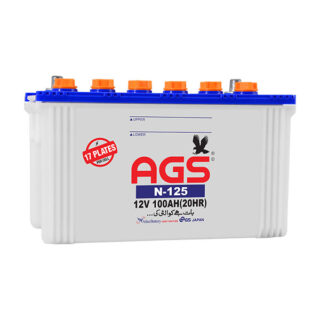 AGS N-125 17 Plates, 100 AH,online order, delivery in islamabad, ags battery in islamabad, ags battery in isb, ags battery in rawalpindi, door step delivery, free home delivery, ags 125, ags battery in Lahore ,ags battery in lhr, ags battery in fsd , ags battery in Karachi