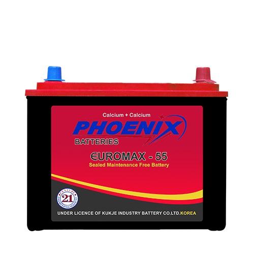 EUROMAX 55_12_VOLTS_09_PLATES_38_AH_PHEONIX_BATTERY_MF battery, _BEST_PRICE_BATTERYUSTAD_ISLAMABAD_RAWALPINDI_LAHORE_MULTAN_FAISLABAD_FSD_ISB_LHR, dry battery, phoenix dry battery, prado dry battery. hilux dry battery, phoenix dry battery, euromax 55 L , online order, home delivery, free installation , battery in Islamabad , phoenix mf 55 L
